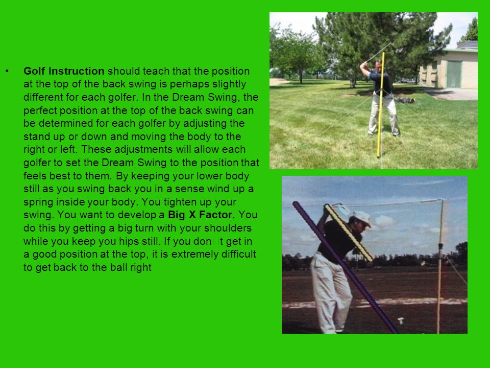 The Down Swing The Down Swing is started by rotating the hip forward.