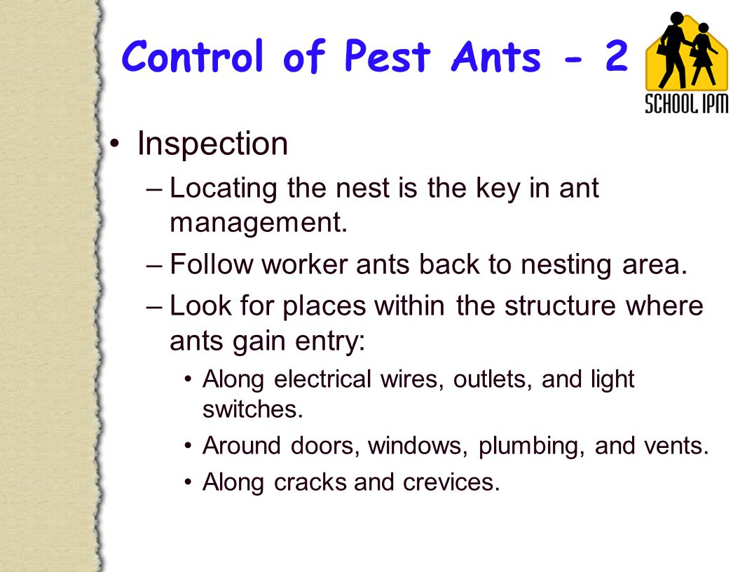 Control of Pest Ants - 2 Inspection –Locating the nest is the key in ant management.