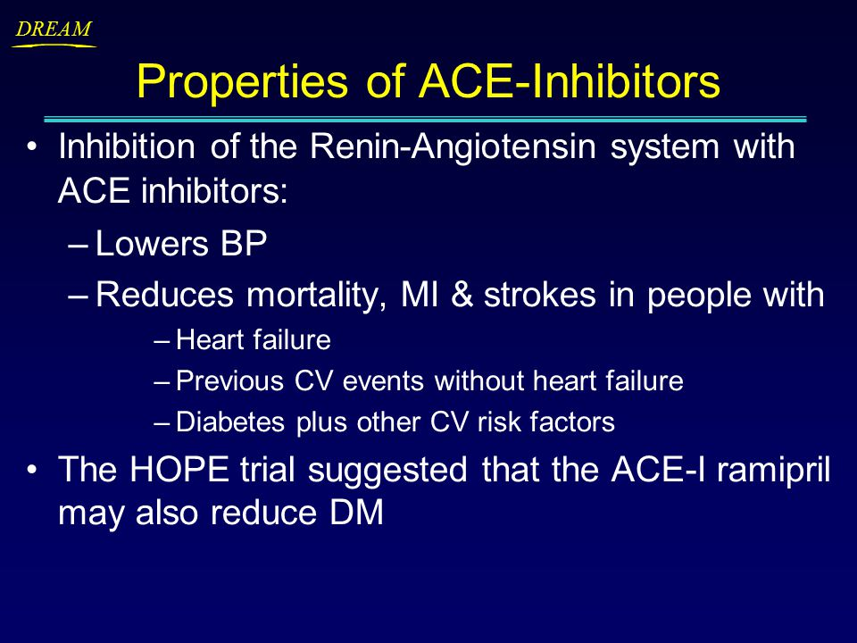 DREAM Properties of ACE-Inhibitors Inhibition of the Renin-Angiotensin system with ACE inhibitors: –Lowers BP –Reduces mortality, MI & strokes in people with –Heart failure –Previous CV events without heart failure –Diabetes plus other CV risk factors The HOPE trial suggested that the ACE-I ramipril may also reduce DM