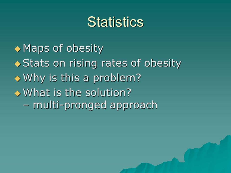 Statistics  Maps of obesity  Stats on rising rates of obesity  Why is this a problem.