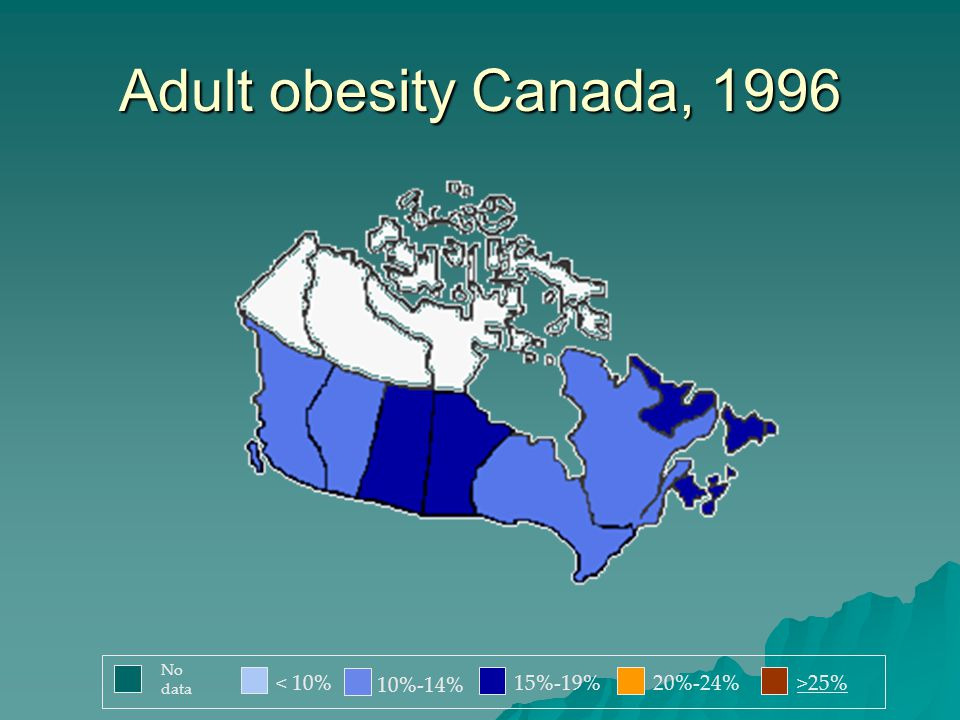Adult obesity Canada, 1996 < 10% 10%-14% 15%-19%20%-24%>25% No data
