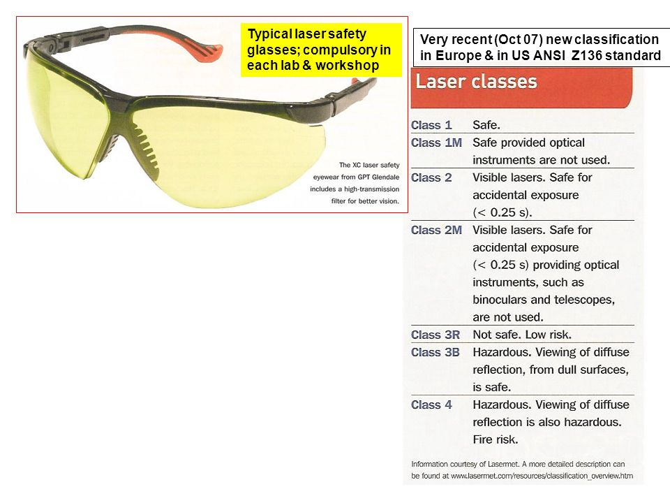 Very recent (Oct 07) new classification in Europe & in US ANSI Z136 standard Typical laser safety glasses; compulsory in each lab & workshop