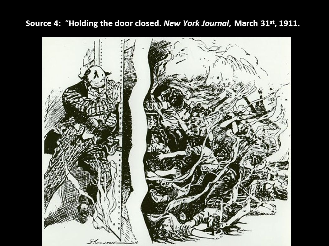 """Source 4: """"Holding the door closed. New York Journal, March 31 st, 1911."""