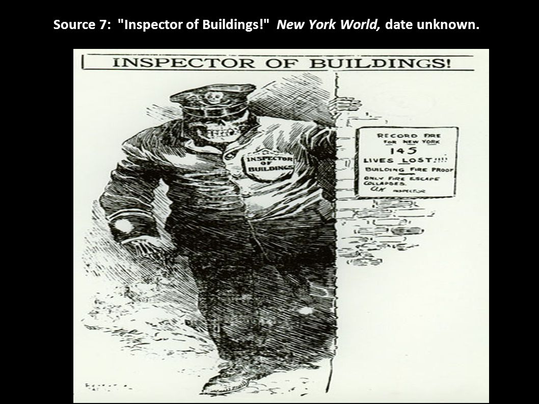 Source 7: Inspector of Buildings! New York World, date unknown.