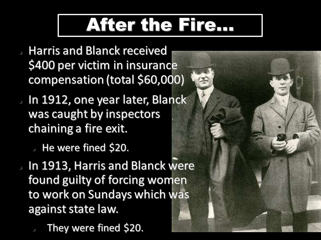 After the Fire... Harris and Blanck received $400 per victim in insurance compensation (total $60,000) Harris and Blanck received $400 per victim in i
