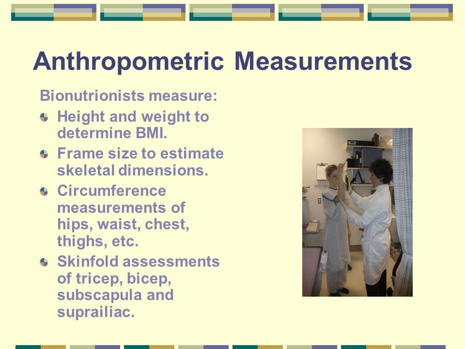 Anthropometric Measurements Bionutrionists measure: Height and weight to determine BMI. Frame size to estimate skeletal dimensions. Circumference meas