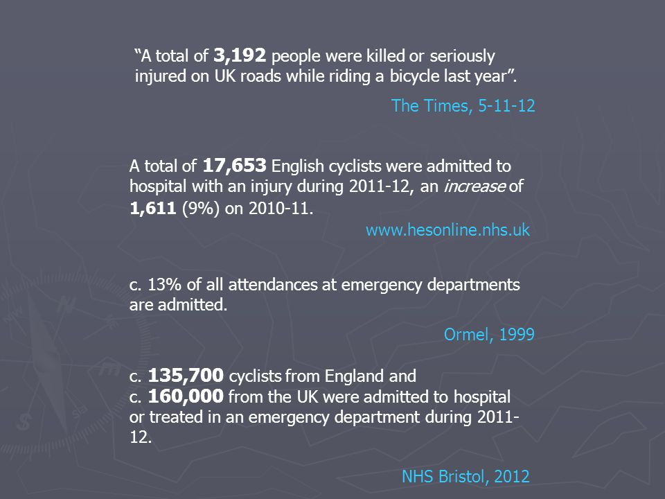 A total of 3,192 people were killed or seriously injured on UK roads while riding a bicycle last year .