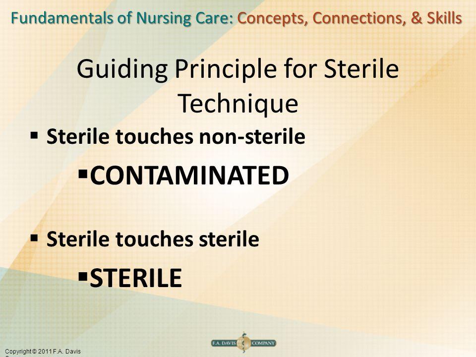 Fundamentals of Nursing Care: Concepts, Connections, & Skills Copyright © 2011 F.A. Davis Company Guiding Principle for Sterile Technique  Sterile to