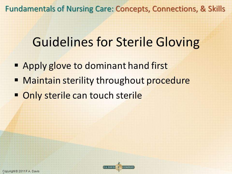 Fundamentals of Nursing Care: Concepts, Connections, & Skills Copyright © 2011 F.A. Davis Company Guidelines for Sterile Gloving  Apply glove to domi