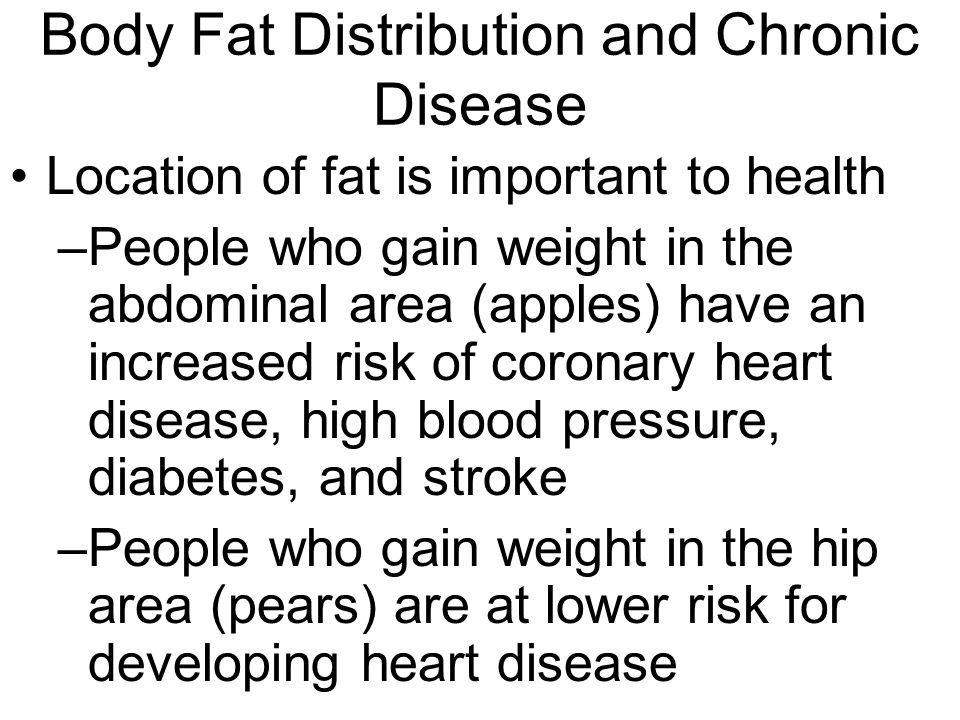 Body Fat Distribution and Chronic Disease Location of fat is important to health –People who gain weight in the abdominal area (apples) have an increased risk of coronary heart disease, high blood pressure, diabetes, and stroke –People who gain weight in the hip area (pears) are at lower risk for developing heart disease