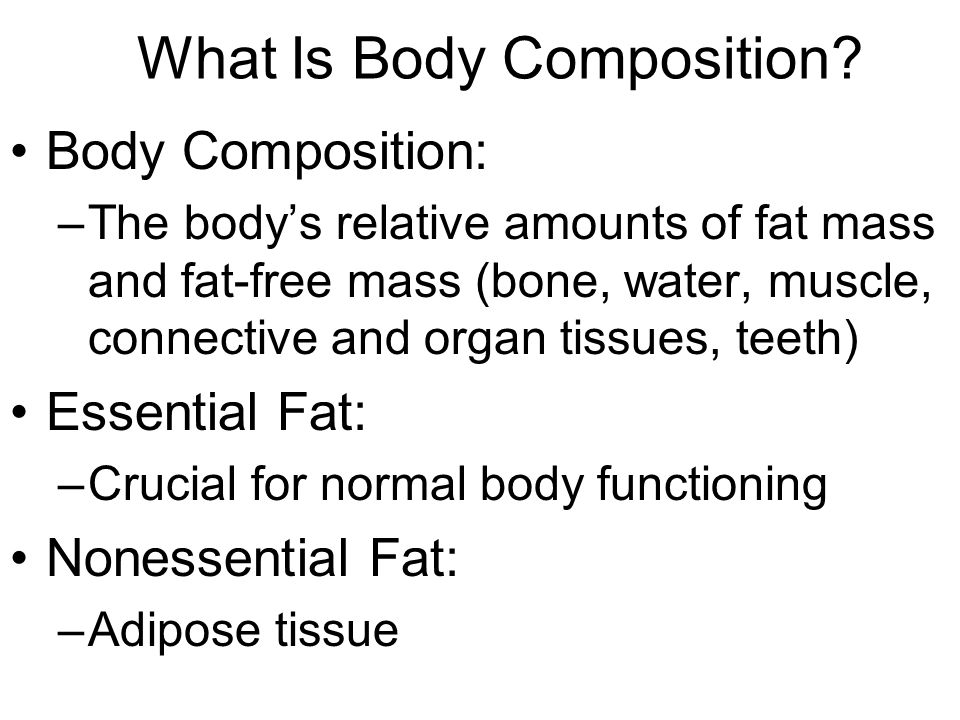 Overweight and Obesity The most important consideration in evaluating body weight and composition is percent body fat (the proportion of total body weight that is fat) Overweight: –Total body weight above a recommended range for good health Obesity: –Severely overweight and overfat; characterized by excessive accumulation of body fat