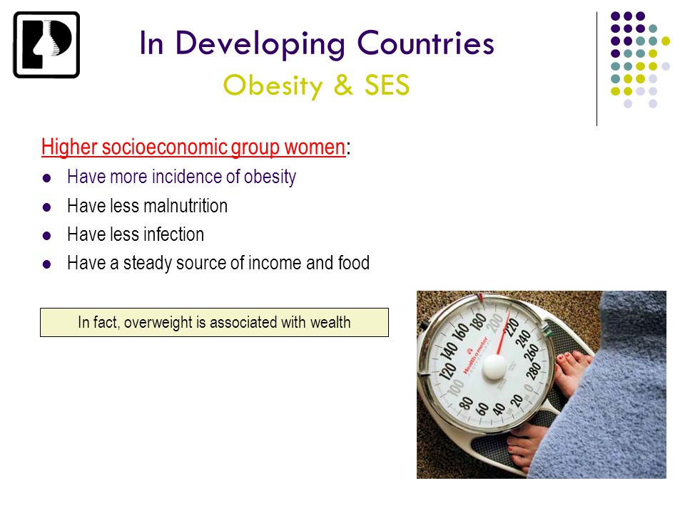 In Developing Countries Obesity & SES Higher socioeconomic group women: Have more incidence of obesity Have less malnutrition Have less infection Have