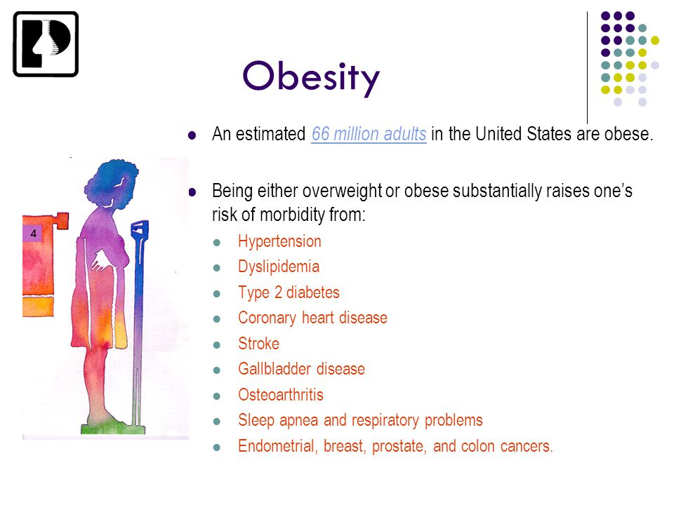 Obesity An estimated 66 million adults in the United States are obese. Being either overweight or obese substantially raises one's risk of morbidity f