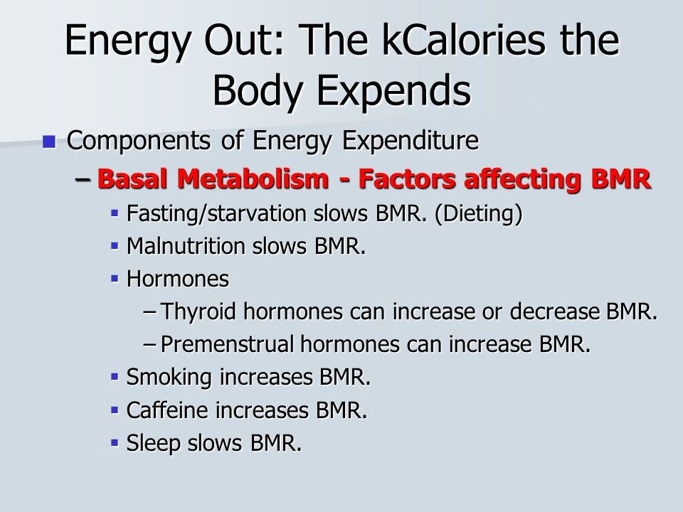 Energy Out: The kCalories the Body Expends Components of Energy Expenditure Components of Energy Expenditure –Basal Metabolism - Factors affecting BMR  Fasting/starvation slows BMR.