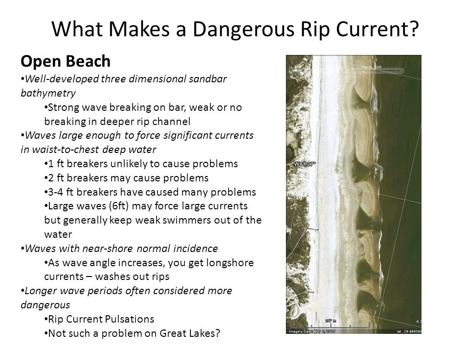 What Makes a Well-Developed Open Beach Rip Current Bathymetry.