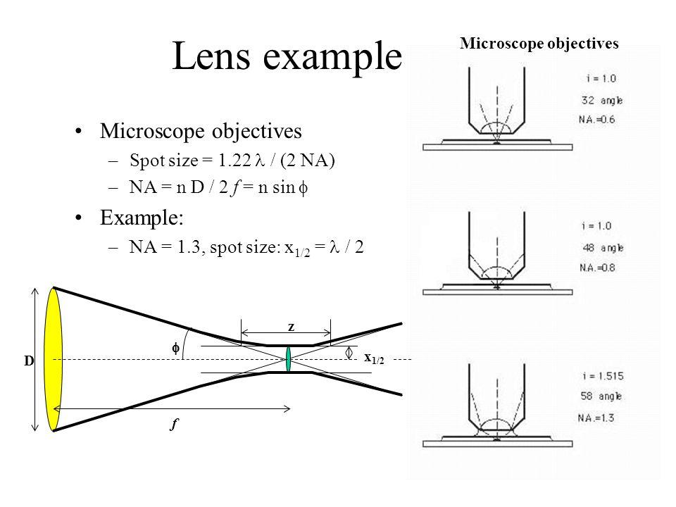 Lens example Microscope objectives –Spot size = 1.22 / (2 NA) –NA = n D / 2 f = n sin  Example: –NA = 1.3, spot size: x 1/2 = / 2 Microscope objectiv