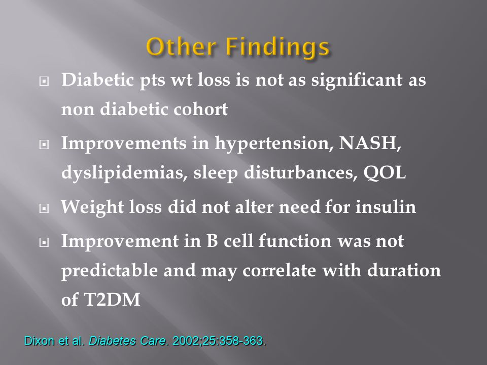  Diabetic pts wt loss is not as significant as non diabetic cohort  Improvements in hypertension, NASH, dyslipidemias, sleep disturbances, QOL  Weight loss did not alter need for insulin  Improvement in B cell function was not predictable and may correlate with duration of T2DM Dixon et al.