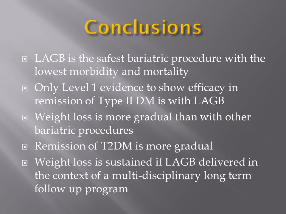  LAGB is the safest bariatric procedure with the lowest morbidity and mortality  Only Level 1 evidence to show efficacy in remission of Type II DM is with LAGB  Weight loss is more gradual than with other bariatric procedures  Remission of T2DM is more gradual  Weight loss is sustained if LAGB delivered in the context of a multi-disciplinary long term follow up program