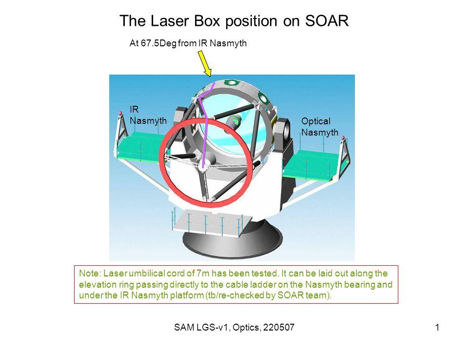 SAM LGS-v1, Optics, 2205071 The Laser Box position on SOAR IR Nasmyth Optical Nasmyth At 67.5Deg from IR Nasmyth Note: Laser umbilical cord of 7m has been tested.