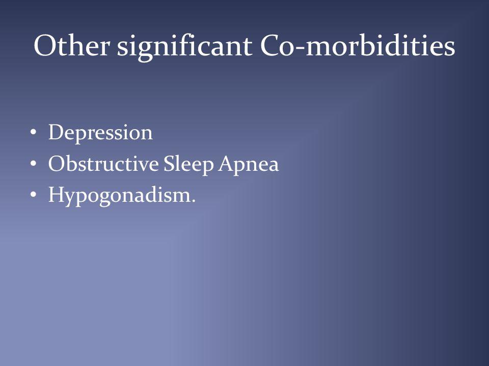 Other significant Co-morbidities Depression Obstructive Sleep Apnea Hypogonadism.
