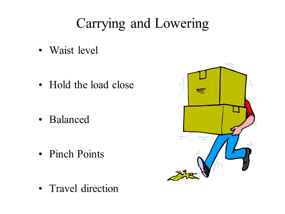 Carrying and Lowering Waist level Hold the load close Balanced Pinch Points Travel direction