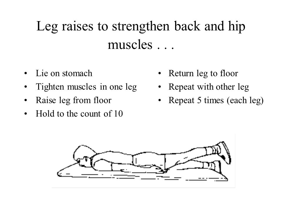 Leg raises to strengthen back and hip muscles...