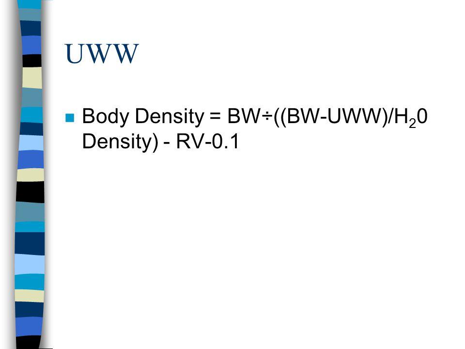 UWW n Body Density = BW÷((BW-UWW)/H 2 0 Density) - RV-0.1