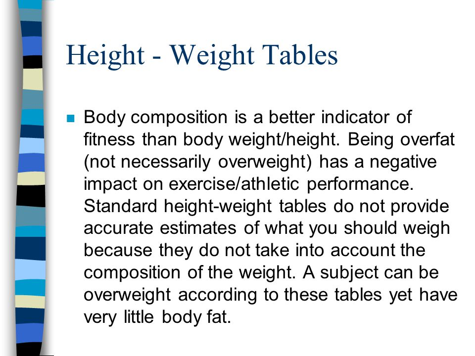 Height - Weight Tables n Body composition is a better indicator of fitness than body weight/height.