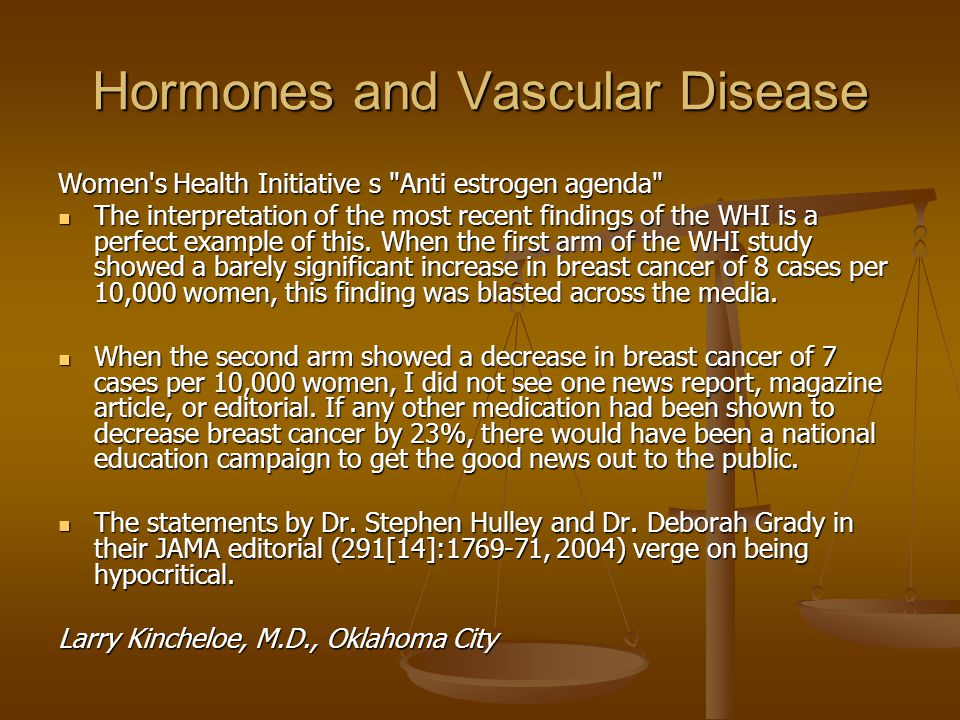 Hormones and Vascular Disease Women s Health Initiative s Anti estrogen agenda The interpretation of the most recent findings of the WHI is a perfect example of this.