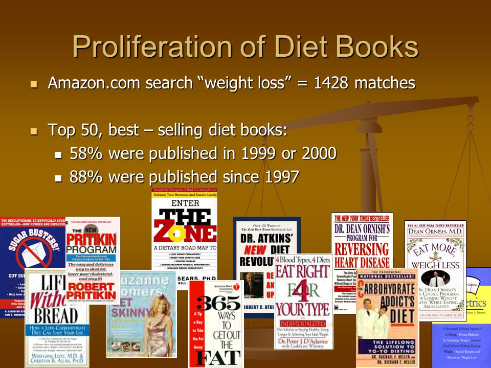 Proliferation of Diet Books Amazon.com search weight loss = 1428 matches Amazon.com search weight loss = 1428 matches Top 50, best – selling diet books: Top 50, best – selling diet books: 58% were published in 1999 or 2000 58% were published in 1999 or 2000 88% were published since 1997 88% were published since 1997