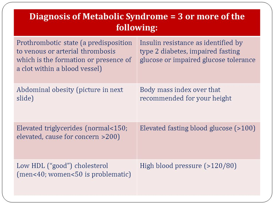 Diagnosis of Metabolic Syndrome = 3 or more of the following: Prothrombotic state (a predisposition to venous or arterial thrombosis which is the formation or presence of a clot within a blood vessel) Insulin resistance as identified by type 2 diabetes, impaired fasting glucose or impaired glucose tolerance Abdominal obesity (picture in next slide) Body mass index over that recommended for your height Elevated triglycerides (normal 200) Elevated fasting blood glucose (>100) Low HDL ( good ) cholesterol (men<40; women<50 is problematic) High blood pressure (>120/80)