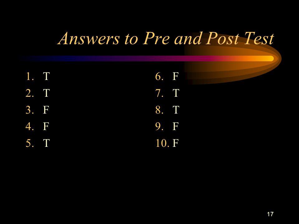 17 Answers to Pre and Post Test 1.T 2.T 3.F 4.F 5.T 6. F 7. T 8. T 9. F 10. F