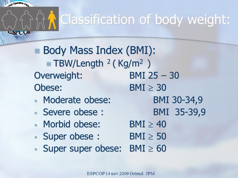 ESPCOP 14 nov 2009 Ostend JPM Classification of body weight: Body Mass Index (BMI): Body Mass Index (BMI): TBW/Length 2 ( Kg/m 2 ) TBW/Length 2 ( Kg/m 2 ) Overweight: BMI 25 – 30 Obese: BMI  30 Moderate obese: BMI 30-34,9 Moderate obese: BMI 30-34,9 Severe obese : BMI 35-39,9 Severe obese : BMI 35-39,9 Morbid obese: BMI  40 Morbid obese: BMI  40 Super obese : BMI  50 Super obese : BMI  50 Super super obese: BMI  60 Super super obese: BMI  60