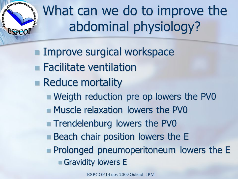 ESPCOP 14 nov 2009 Ostend JPM What can we do to improve the abdominal physiology.