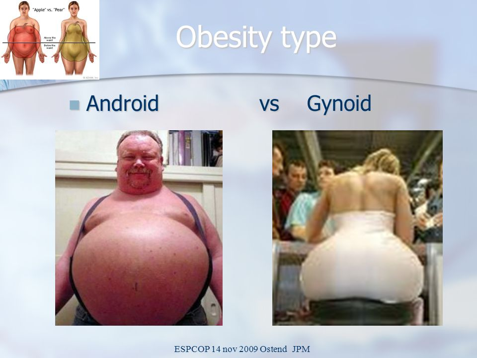 ESPCOP 14 nov 2009 Ostend JPM Obesity type Android vsGynoid Android vsGynoid