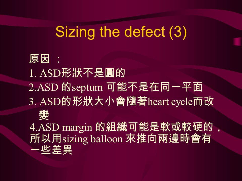 Sizing the defect (3) 原因 : 1. ASD 形狀不是圓的 2.ASD 的 septum 可能不是在同一平面 3.