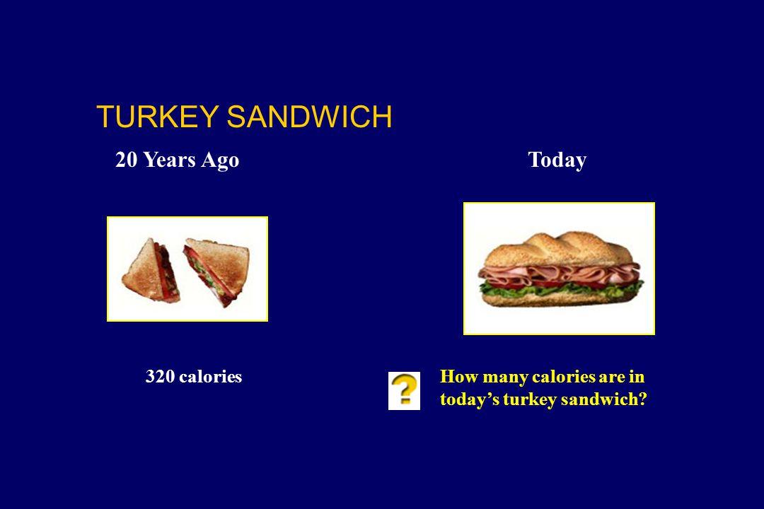 320 caloriesHow many calories are in today's turkey sandwich? TURKEY SANDWICH 20 Years AgoToday