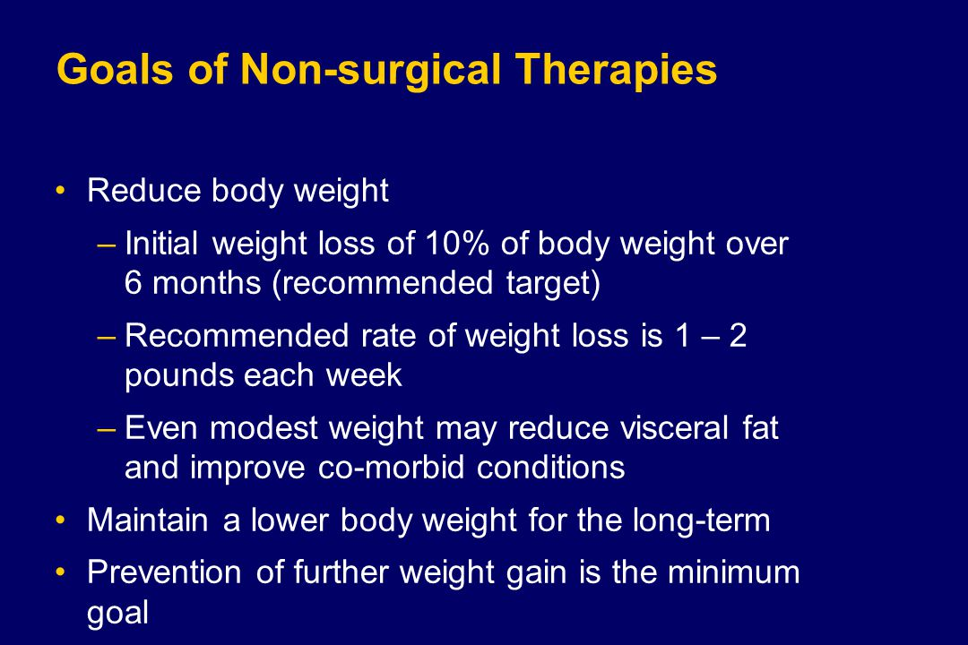 Goals of Non-surgical Therapies Reduce body weight –Initial weight loss of 10% of body weight over 6 months (recommended target) –Recommended rate of weight loss is 1 – 2 pounds each week –Even modest weight may reduce visceral fat and improve co-morbid conditions Maintain a lower body weight for the long-term Prevention of further weight gain is the minimum goal
