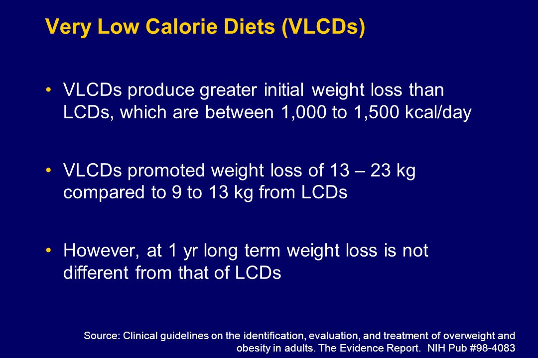 Very Low Calorie Diets (VLCDs) VLCDs produce greater initial weight loss than LCDs, which are between 1,000 to 1,500 kcal/day VLCDs promoted weight loss of 13 – 23 kg compared to 9 to 13 kg from LCDs However, at 1 yr long term weight loss is not different from that of LCDs Source: Clinical guidelines on the identification, evaluation, and treatment of overweight and obesity in adults.