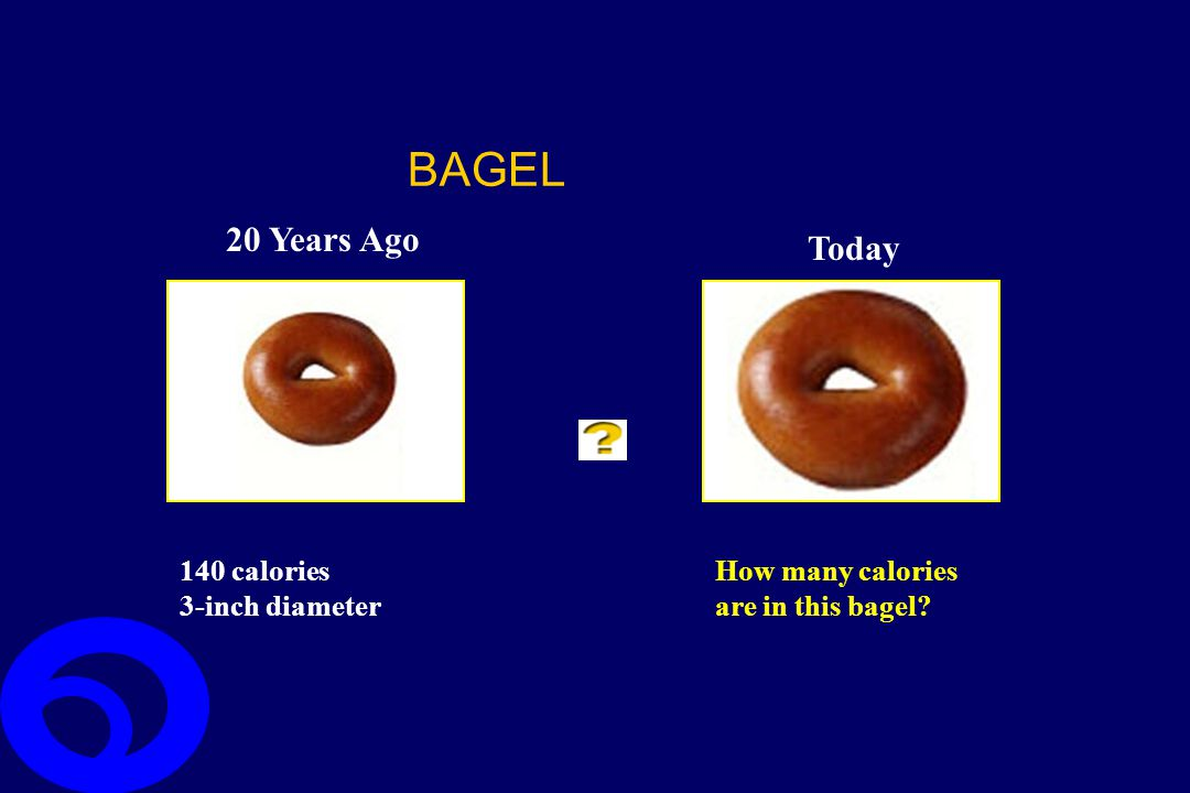 BAGEL 20 Years Ago Today 140 calories 3-inch diameter How many calories are in this bagel?