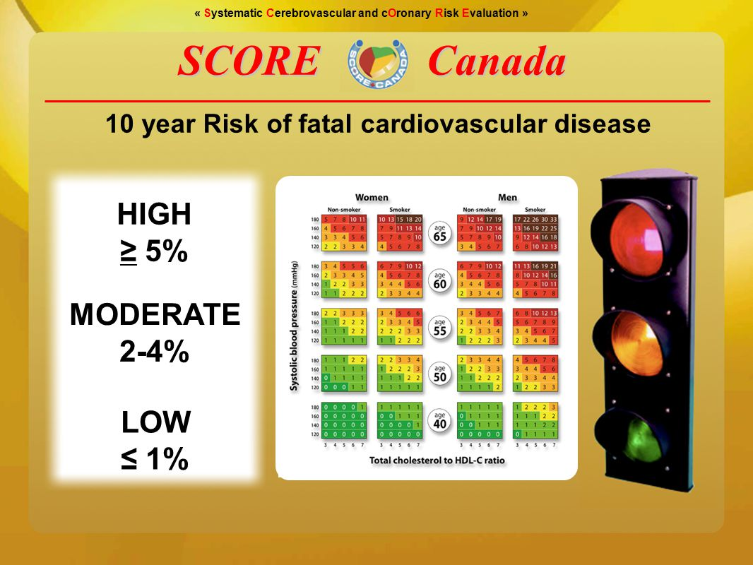 « Systematic Cerebrovascular and cOronary Risk Evaluation » LOW ≤ 1% MODERATE 2-4% HIGH ≥ 5% SCORECanada 10 year Risk of fatal cardiovascular disease