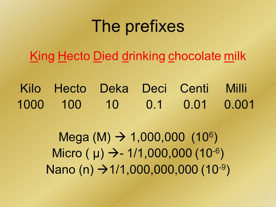 The prefixes King Hecto Died drinking chocolate milk Kilo Hecto Deka Deci Centi Milli 1000 100 10 0.1 0.01 0.001 Mega (M)  1,000,000 (10 6 ) Micro ( μ)  - 1/1,000,000 (10 -6 ) Nano (n)  1/1,000,000,000 (10 -9 )