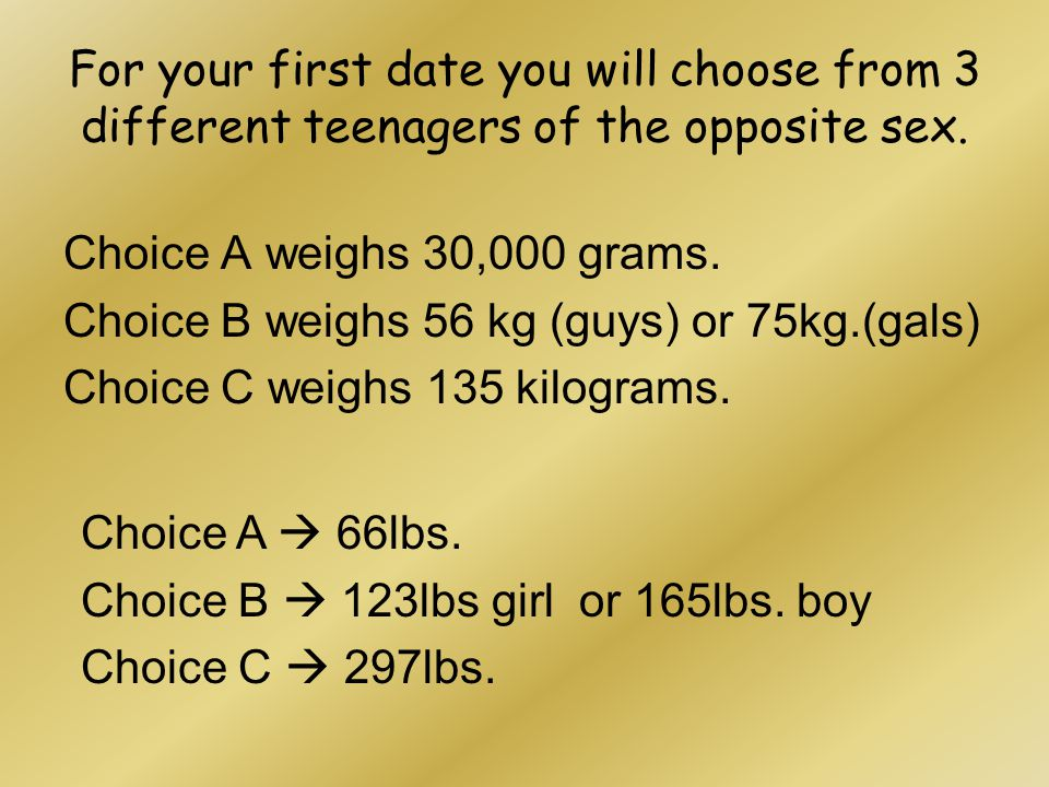 For your first date you will choose from 3 different teenagers of the opposite sex.