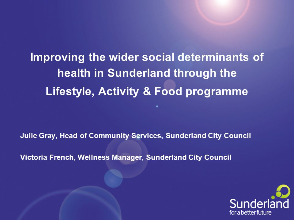 Improving the wider social determinants of health in Sunderland through the Lifestyle, Activity & Food programme Julie Gray, Head of Community Service