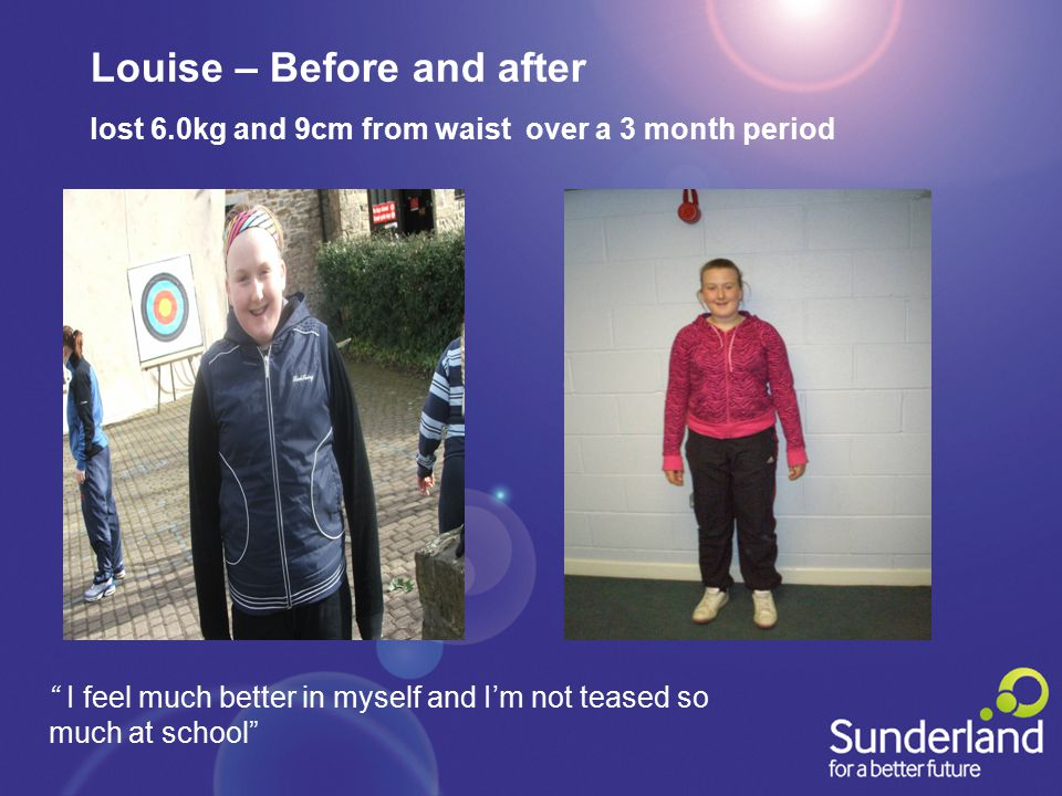 Louise – Before and after lost 6.0kg and 9cm from waist over a 3 month period I feel much better in myself and I'm not teased so much at school