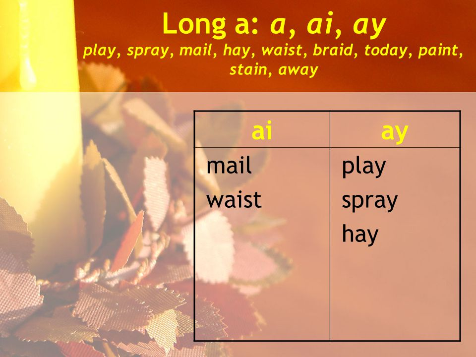 Long a: a, ai, ay play, spray, mail, hay, waist, braid, today, paint, stain, away aiay mail waist play spray hay