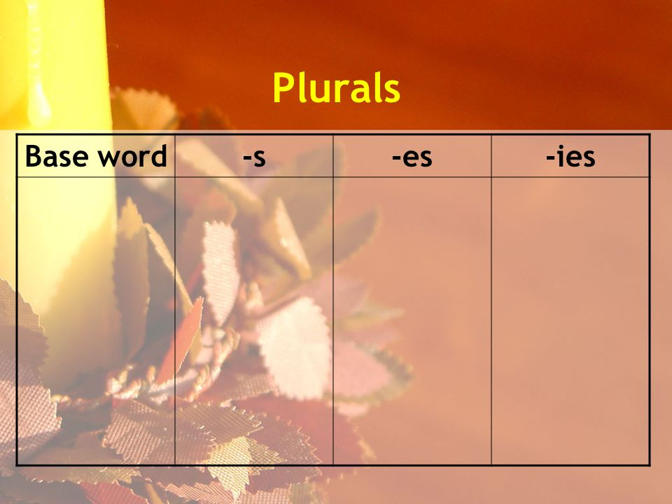 Plurals Base word-s-es-ies