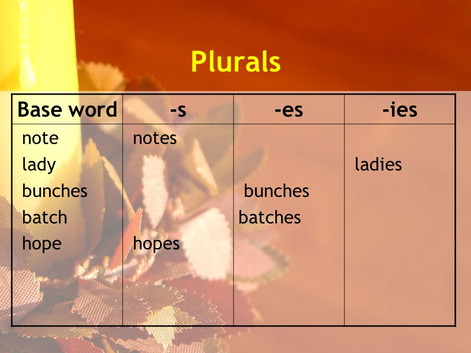 Plurals Base word-s-es-ies note lady bunches batch hope notes hopes bunches batches ladies