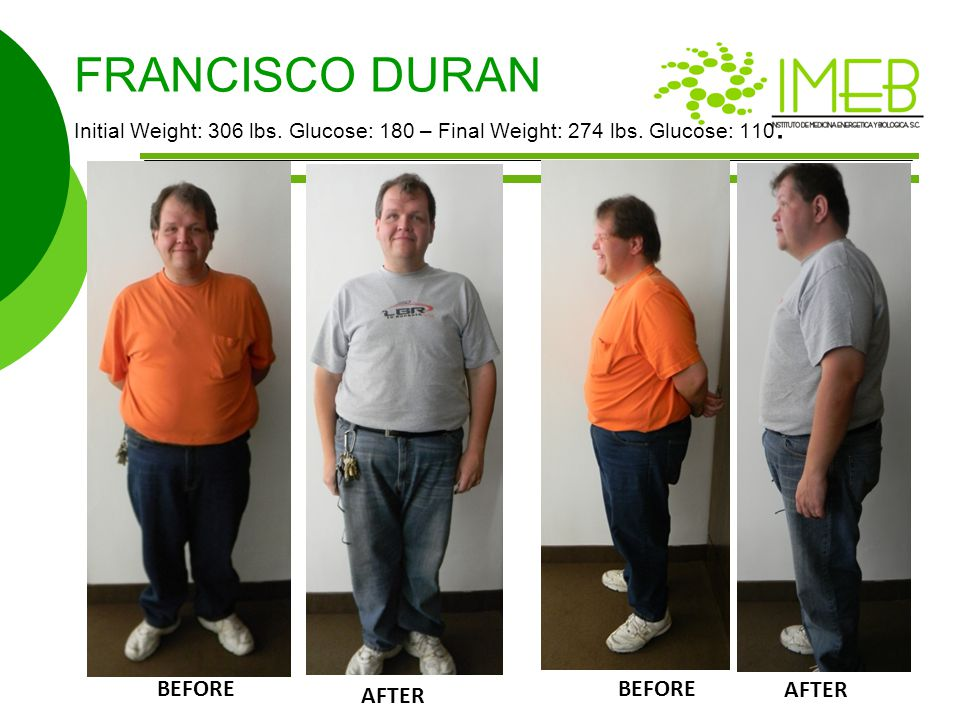 FRANCISCO DURAN Initial Weight: 306 lbs. Glucose: 180 – Final Weight: 274 lbs. Glucose: 110. BEFORE AFTER