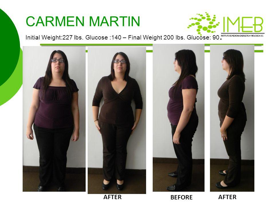CARMEN MARTIN Initial Weight:227 lbs. Glucose :140 – Final Weight 200 lbs.